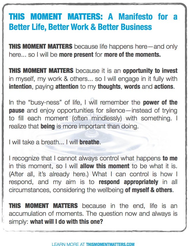 This Moment Matters Manifesto